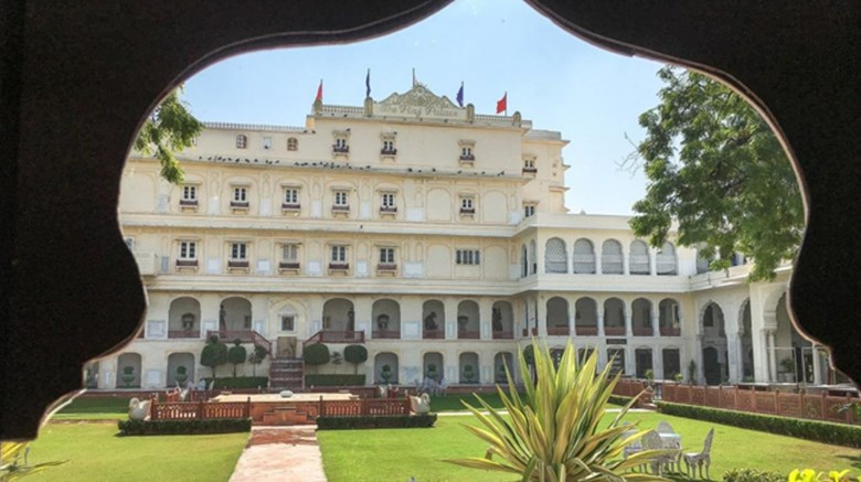 "The Raj Palace Exterior. Images powered by <a href=""http://www.leonardo.com""  target=""_blank"">Leonardo</a>."
