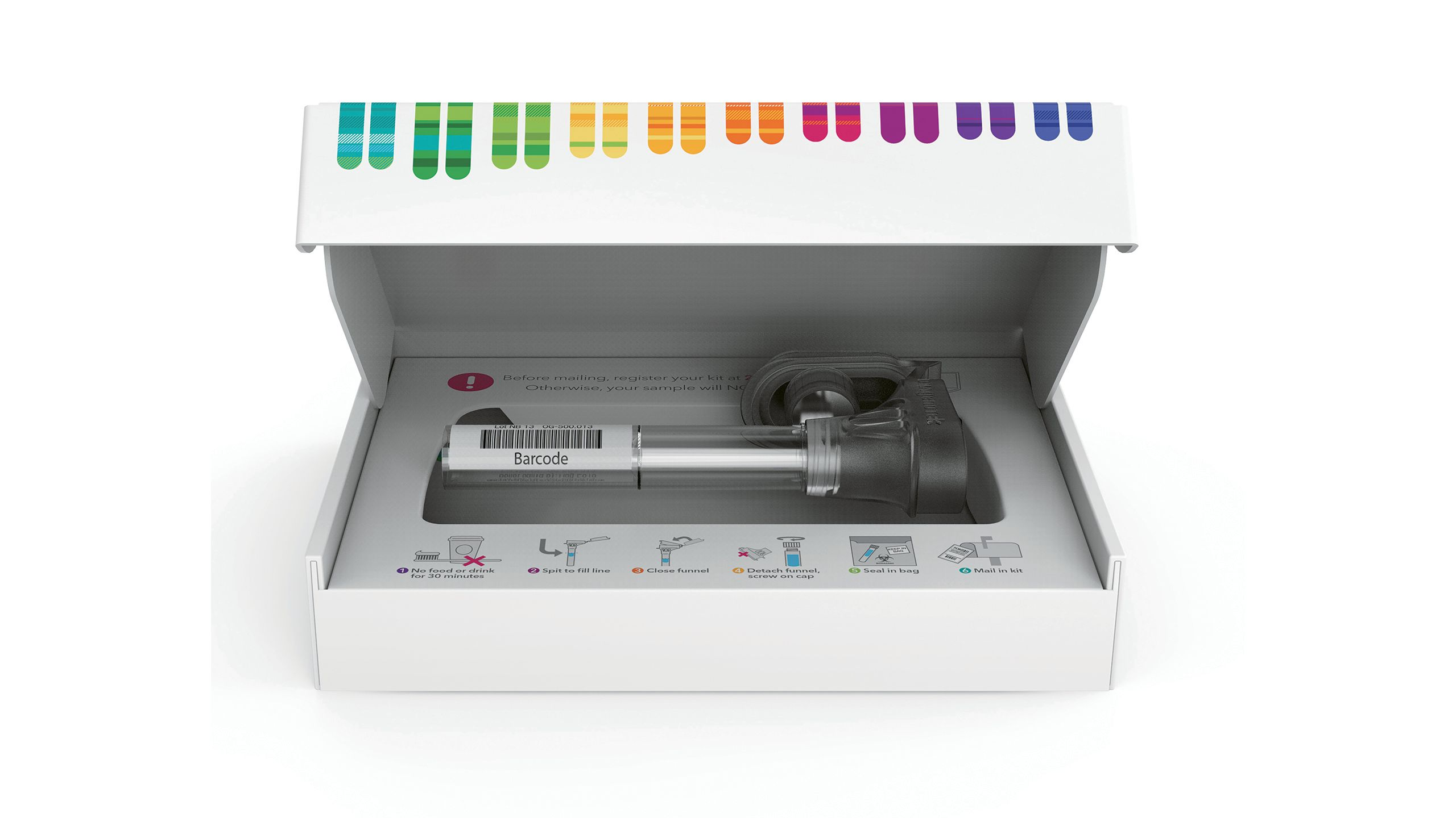 A DNA kit from 23andMe, which creates ancestry composition reports based on genetic similarities to 31 reference populations worldwide.