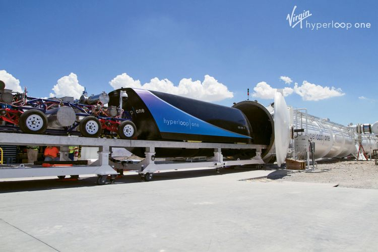 Virgin Hyperloop One loads a pod into its test tunnel in the desert northeast of Las Vegas. The company was the first to open such a test track. (Courtesy of Virgin Hyperloop One)