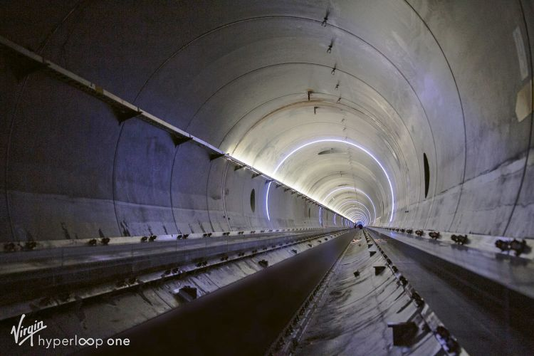 The interior of test tunnel. Such hyperloops employ magnetic levitation. (Courtesy of Virgin Hyperloop One)