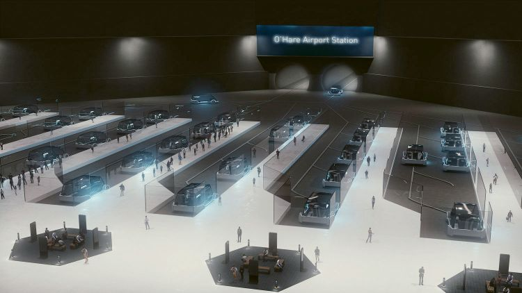 A rendering of the proposed Chicago O'Hare Loop station from which Elon Musk's Boring Company plans to ferry passengers to downtown in 12 minutes. (Courtesy of The Boring Company)