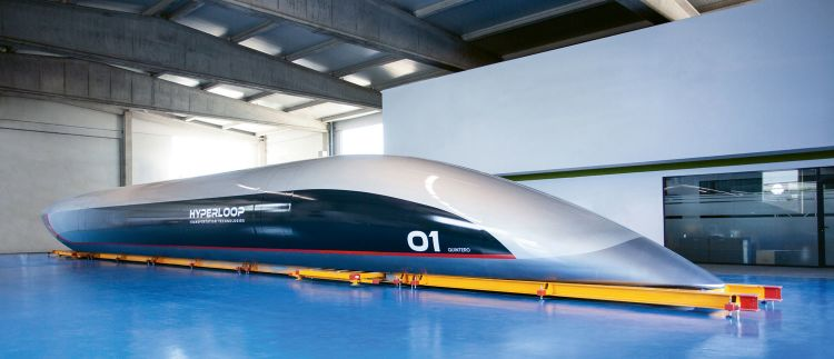 The full-scale hyperloop pod that HyperloopTT will use in the test tube it is building in Toulouse, France, which the company expects to be operational in the spring. (Courtesy of Hyperloop Transportation Technologies)