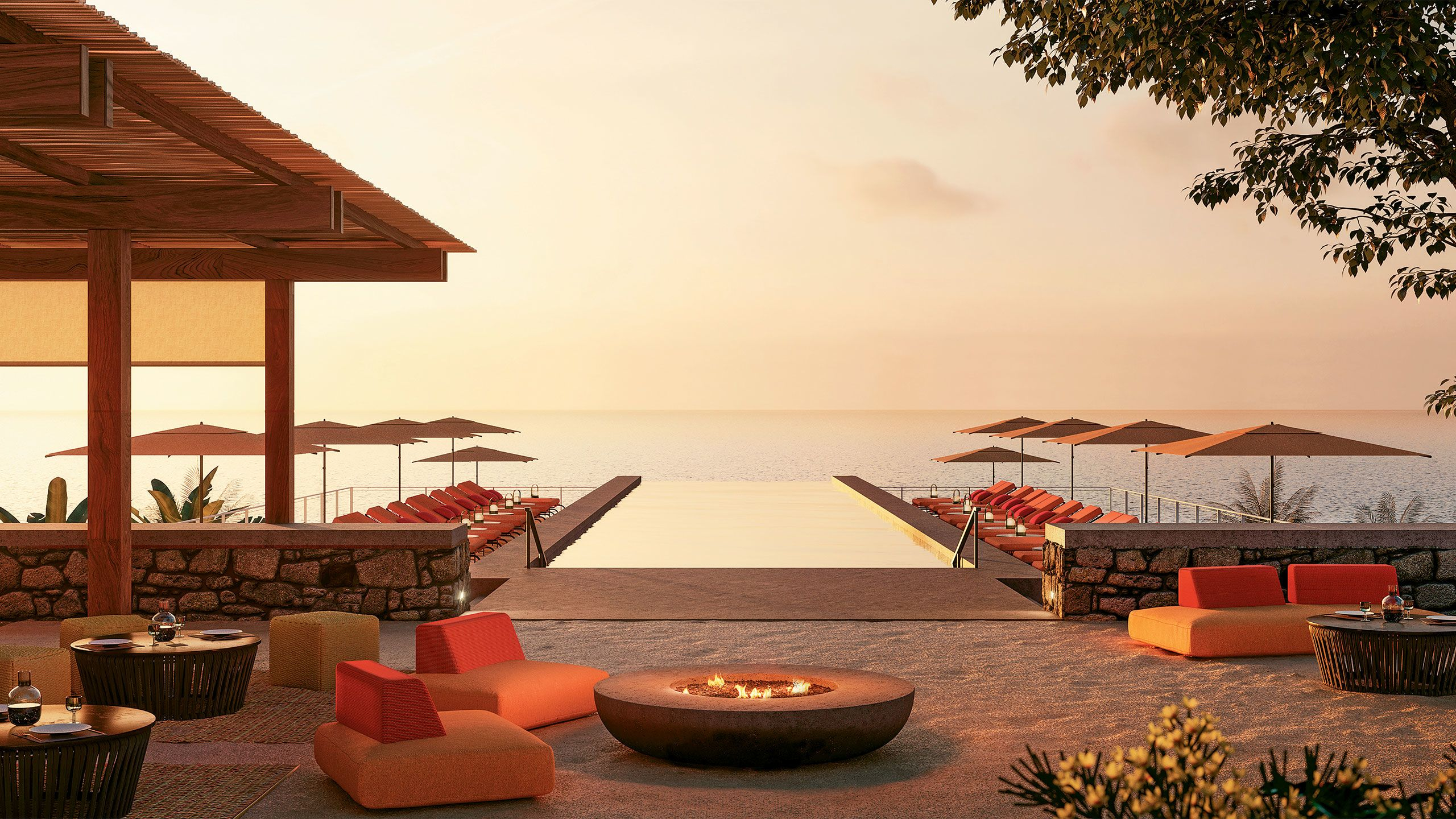 A rendering of a pool area at the One&Only Mandarina on the Riviera Nayarit