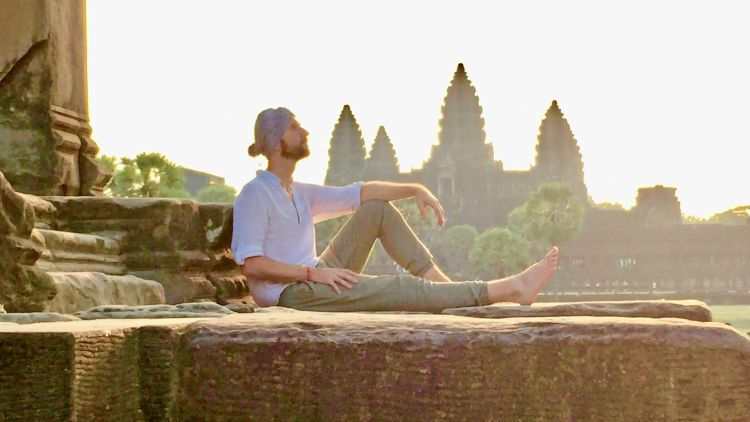 Jacob Marek, founder of IntroverTravels, at Angkor Wat. Marek caters to curious introverts, and his trips provide the space and time for introspection while emphasizing nature, culture and history.