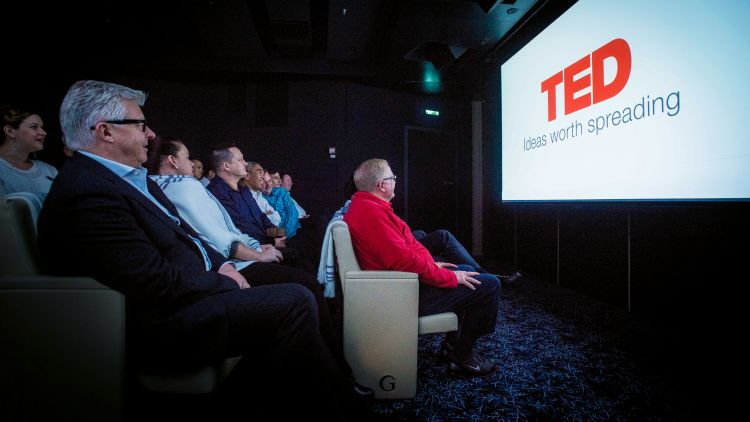 TED Talk screened on one of Viking Cruises' ships. TED is one of the line's cultural partners.