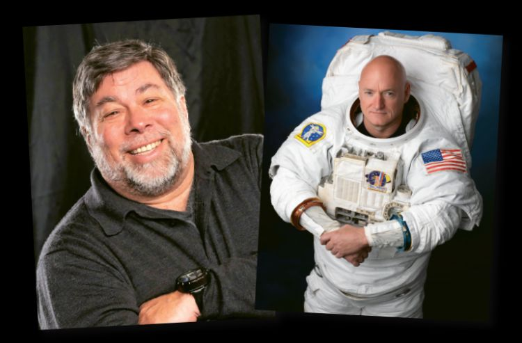 Apple co-founder Steve Wozniak, left, and astronaut Scott Kelly, right, are among the Seabourn Conversations speakers the cruise line is featuring on December sailings.