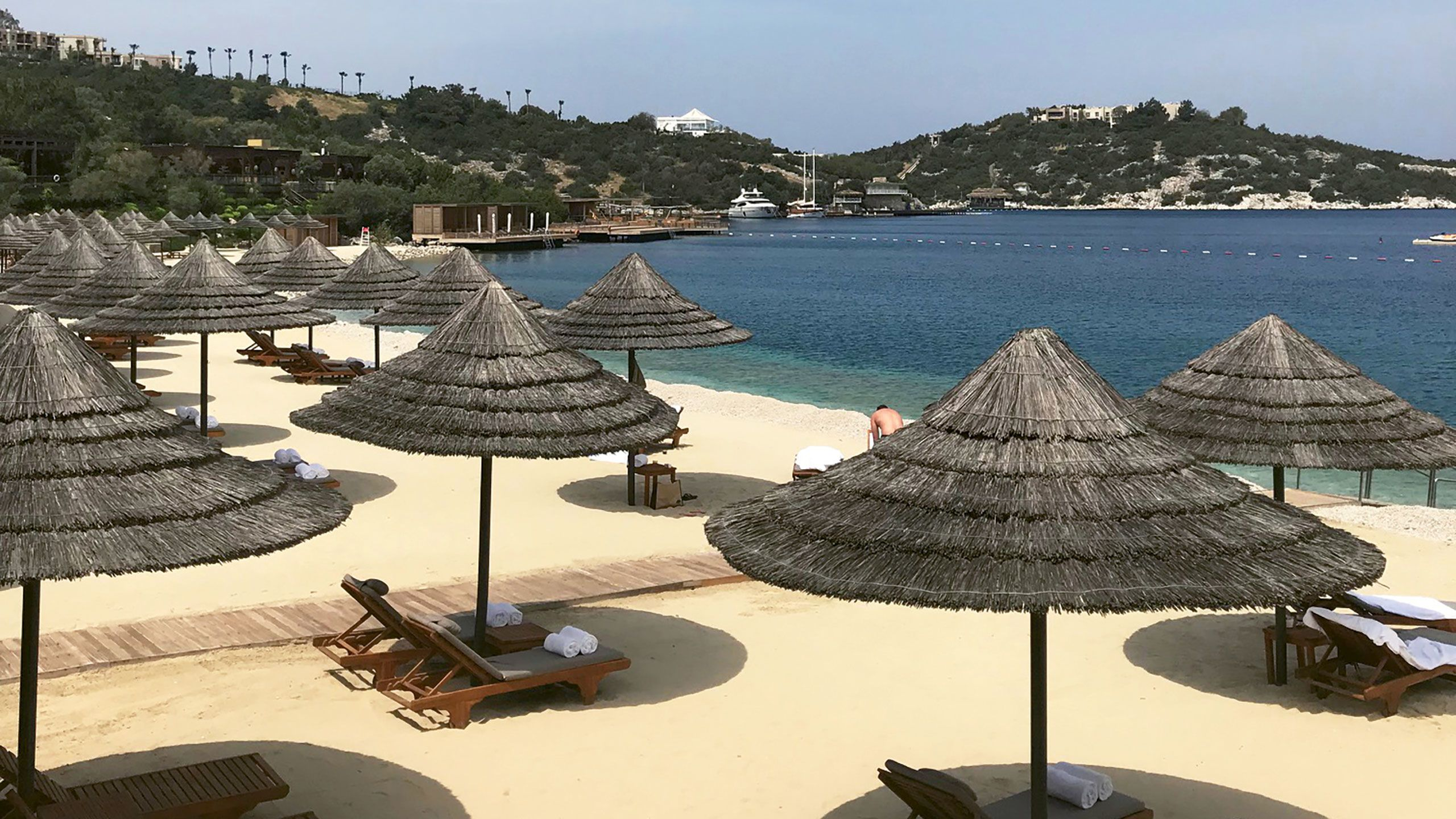 One of two private beaches at the Mandarin Oriental Bodrum.