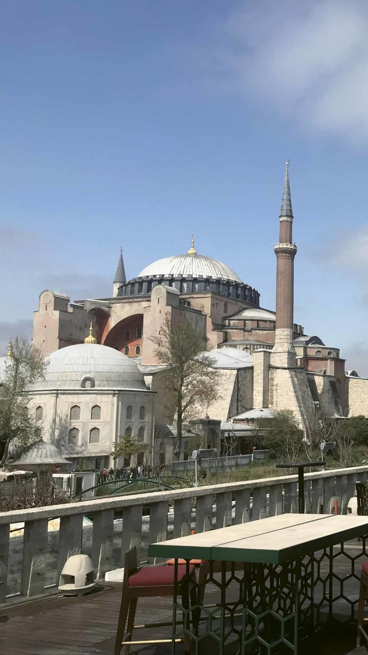 The view of the Haghia Sophia from the rooftop bar at the Four Seasons Hotel Istanbul at Sultanahmet.