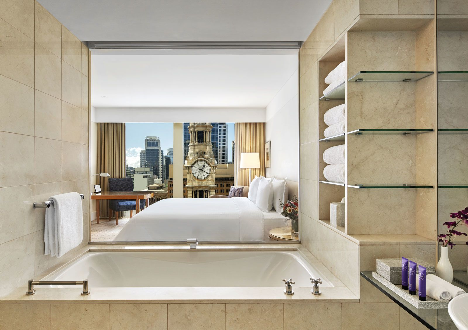 A Tower Deluxe King room at the Fullerton Hotel Sydney, which opened last fall in a building that dates to 1891.
