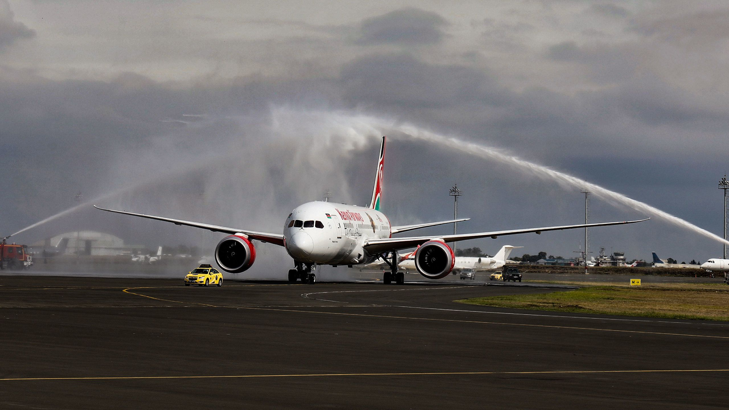 Kenya Airways' Boeing 787 Dreamliner after landing at the airport. Photo courtesy of the Kenya Tourism Board