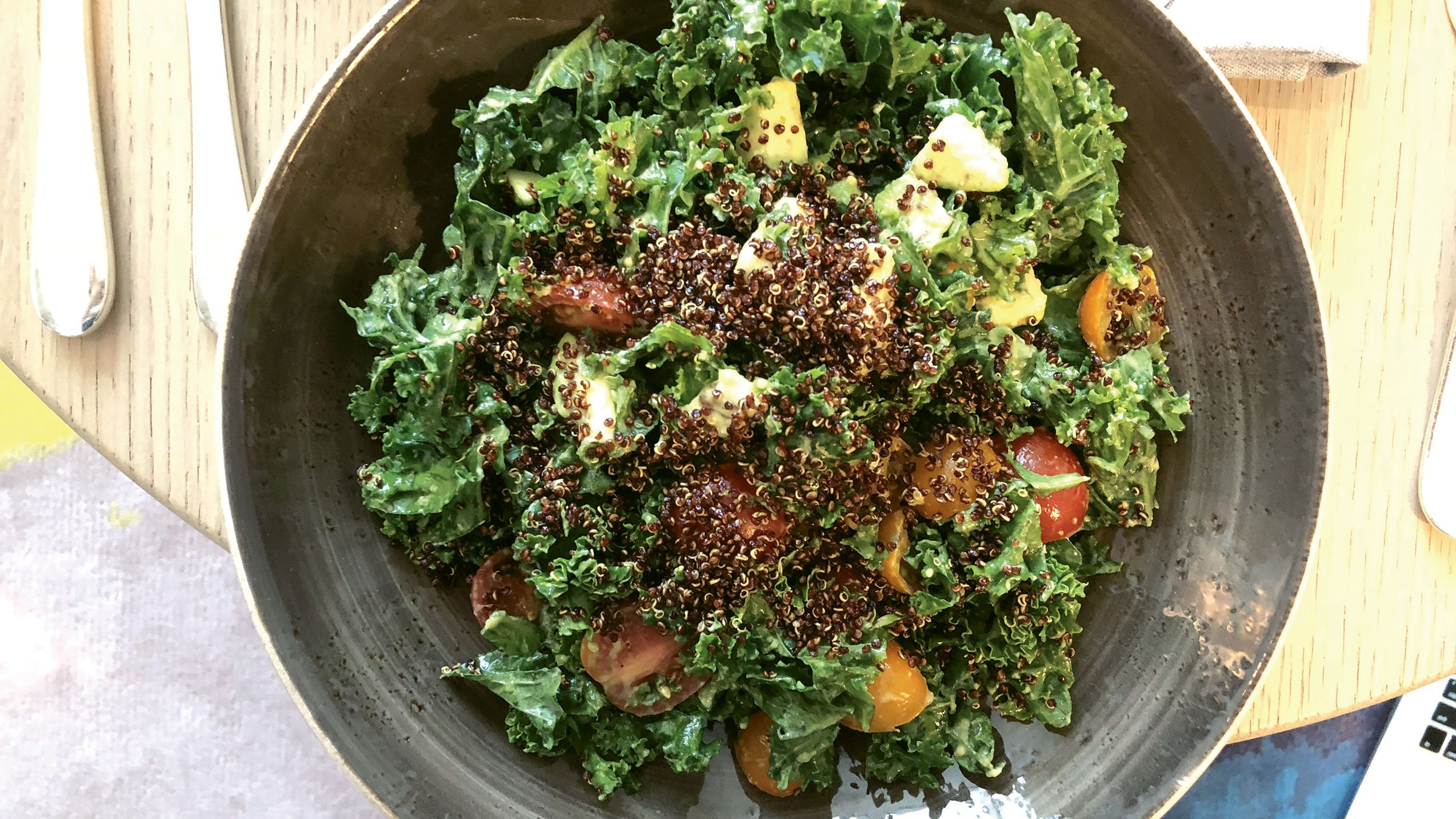 The kale and avocado salad topped with crispy quinoa at the Four Seasons Hotel New York Downtown. Photo by Johanna Jainchill