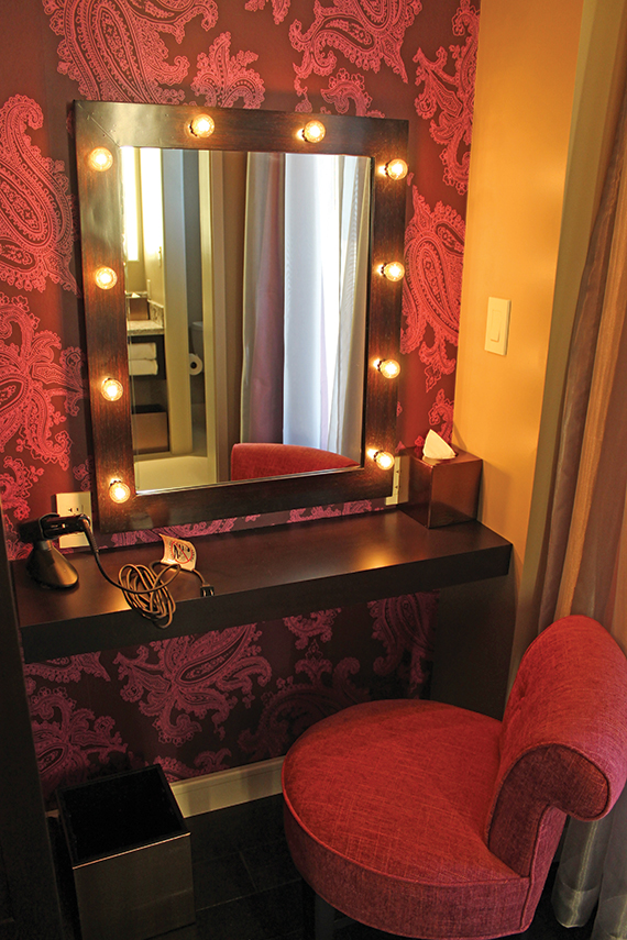 The vanity in a Cromwell hotel room.