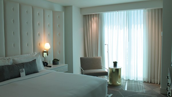 A guestroom at the Delano Las Vegas, located within Mandalay Bay.