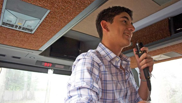 Andres Bonilla, ITMI's youngest student ever at 17 years old, gives a presentation on sea otters.