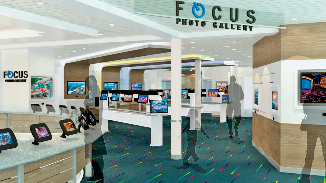 Guests of the Quantum of the Seas and Anthem of the Seas can use their WOWbands in the Focus Photo Gallery to digitally access and print on demand their professionally taken photographs, significantly reducing preprinted photo waste.
