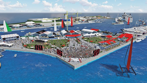A rendering of the America's Cup Village at Bermuda's Royal Naval Dockyard.