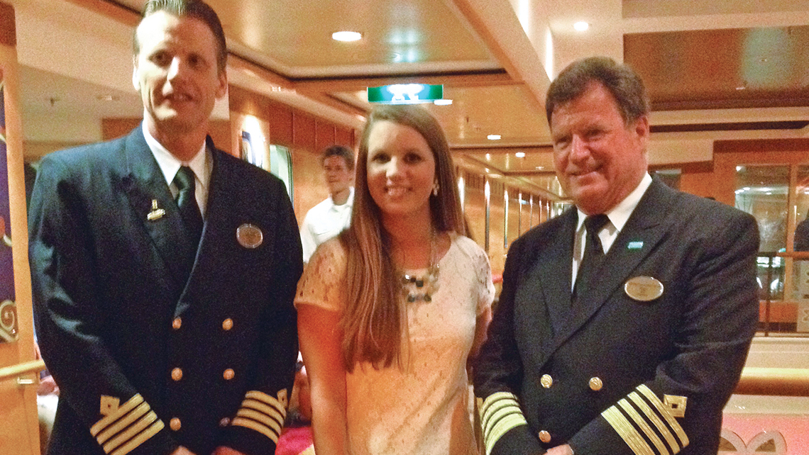 Cheyenne Teters of Sanders Travel Center with Norwegian Jewel crew members.