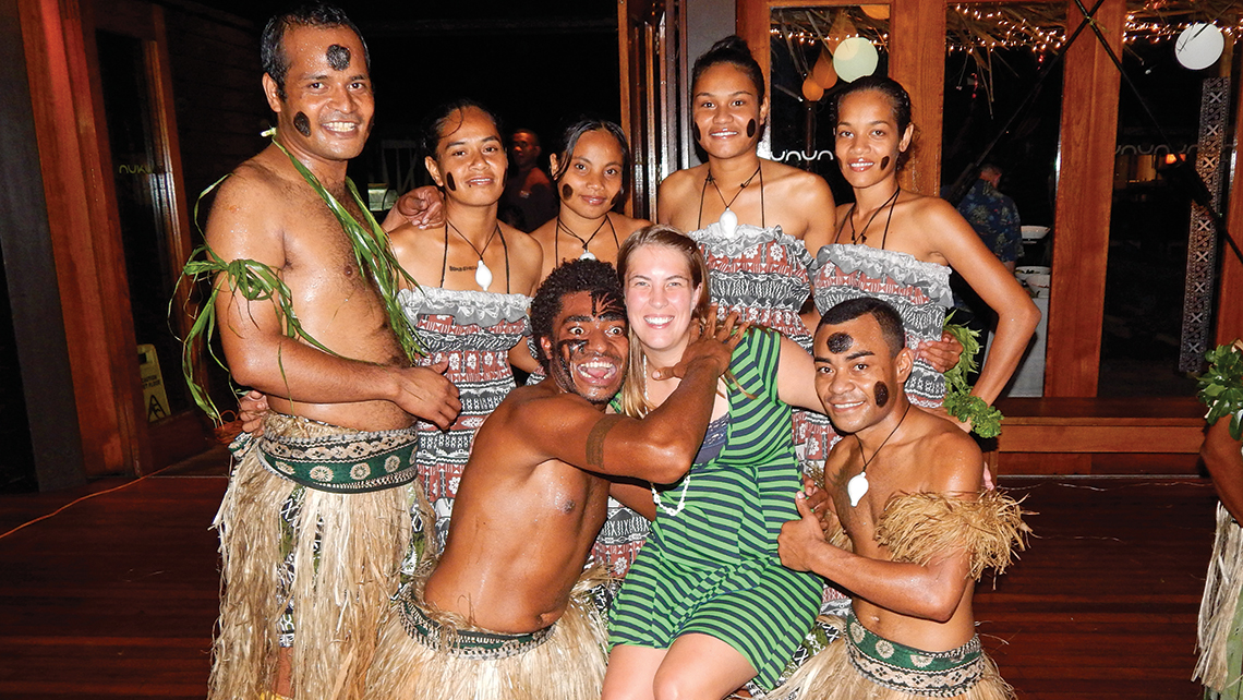 Sarah Bush of Bali Hai'i Dreams with dancers in Fiji.
