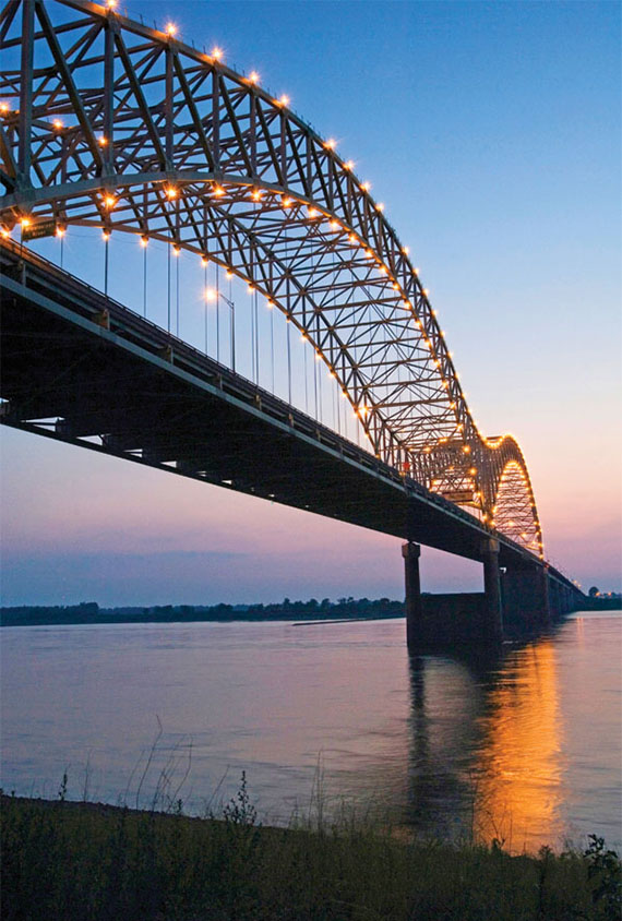 The Hernando de Soto Bridge spans the Mississippi River from Memphis to West Memphis, Ark. Photo Credit: Arkansas Department of Parks and Tourism