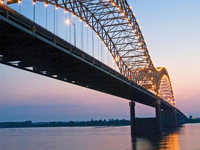 The Hernando de Soto Bridge spans the Mississippi River from Memphis to West Memphis, Ark.