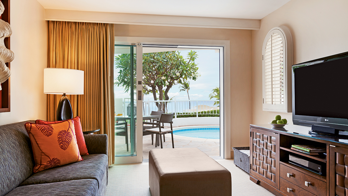 A Kea Lani Villa living room. The all-suite, beachfront resort is in Wailea, on Maui's southern coast,