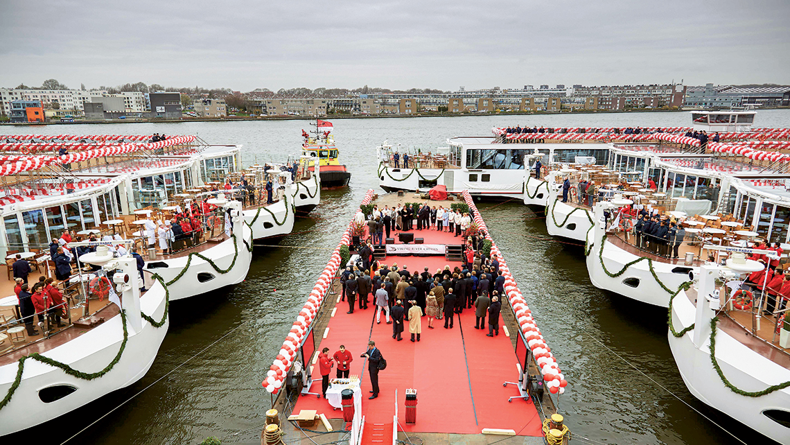 Last spring's ceremony in Amsterdam for Viking's record launch of 18 ships in Europe.