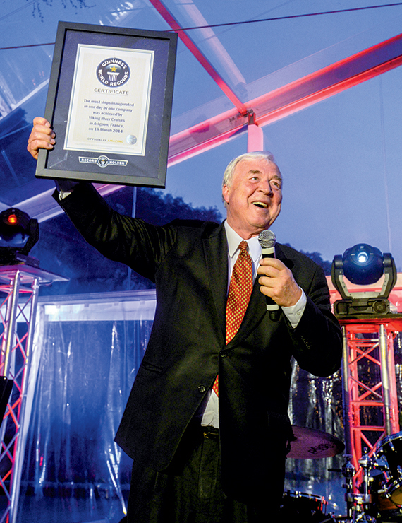 Viking Chairman Torstein Hagen with the Guinness World Record certificate for the launch.