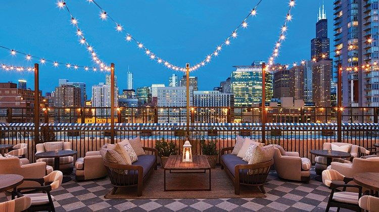 The Soho House Chicago roof deck.
