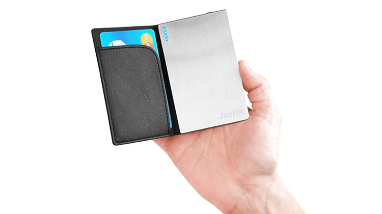 Ultra-thin (it is about the size of a credit card), the Justin Slim Power Bank portable power source (2000 mAH) has an attractive brushed metal finish and comes with a synthetic leather carrying case that itself has a storage compartment for a real credit card.