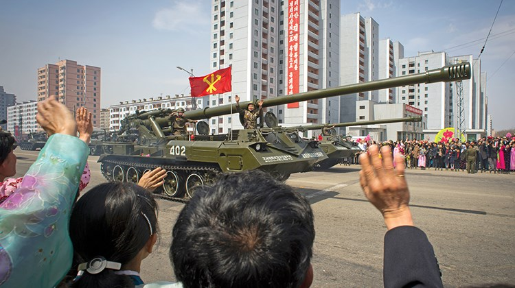 A military parade for Kim Il Sung's birthday centennial in 2012.