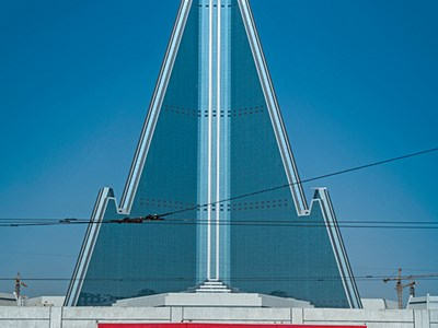 The 105-story Ryugyong Hotel in Pyongyang.