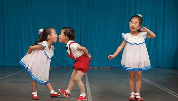 A performance at a kindergarten in Chongjin.