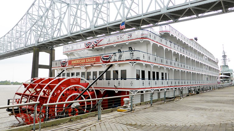 Named in New Orleans in a ceremony held on the ship's bow by Cheryl Landrieu, wife of New Orleans Mayor Mitch Landrieu, the American Eagle is American Cruise Lines' second Mississippi riverboat. The 150-guest vessel looks like a genuine steamboat but is actually diesel-powered.