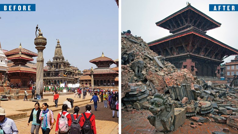 Before and after: At left, Bhaktapur's Durbar Square, as seen by Patricia Schultz during her recent visit. At right, old temples in the Bhaktapur Durbar Square collapsed as a result of the earthquake on April 25.