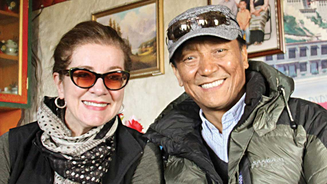 Author Patricia Schultz with the Crown Prince of Lo Manthang on her recent visit to Nepal. Photo Credit: Mollie Fitzgerald/Frontiers Travel