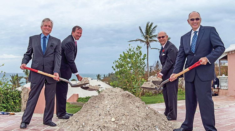 Celebrities looking to get into the lodging business are investing in secluded, largely warm-weather and very natural settings. And while they will be posh and expensive, they will also likely have a decidedly ecological bent. Pictured here, (from left) Michael Douglas, Bermuda Premier Michael Dunkley, Nikki Dill (a relative of Douglas') and Olympic Property Partners' Seth Weinstein at a November 2014 groundbreaking ceremony.