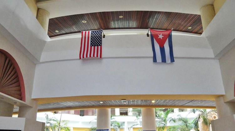 The Melia Varadero displayed flags of welcome for the U.S. fam trip visitors.