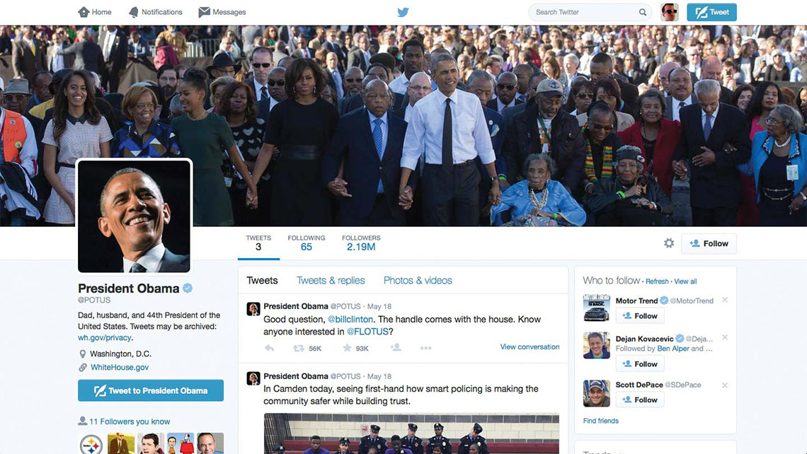 Your social media goal should be to maintain a steady stream of posts that reflect your branding, as President Obama has done.