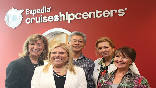 Celebrity Cruises CEO Lisa Lutoff-Perlo, second from left, met with Expedia CruiseShipCenters' Senior Vice President of Sales and Marketing Geraldine Ree, left; Eric Tan, president of consumer sales; senior vacation consultant Christine Fox; and vacation consultant Shawna Noble.