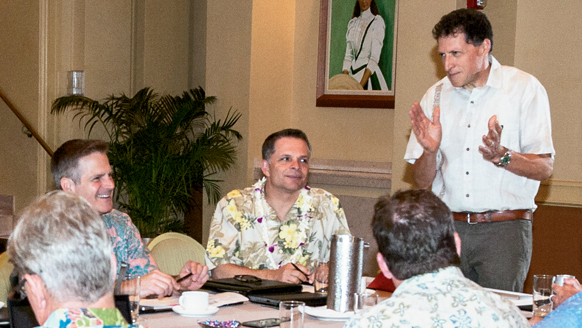 """On the topic of challenges that both agents and consumers face … resort fees … [are]  not just an issue in Hawaii."" -- Arnie Weissmann (standing) Photo Credit: Dave Miyamoto"