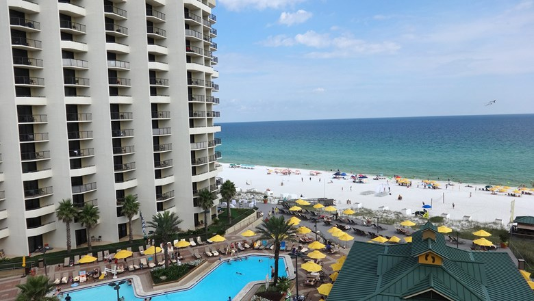A View Of The Pool And Beach From Guestroom Balcony At Hilton Sandestin