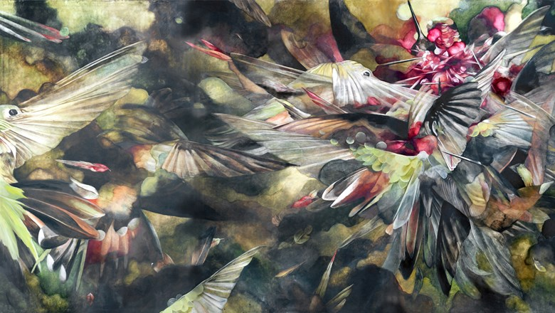 """Sky Burial"" by Emly McIlroy is part of the 61st installment of the Honolulu Museum of Art's Artists of Hawaii exhibit."