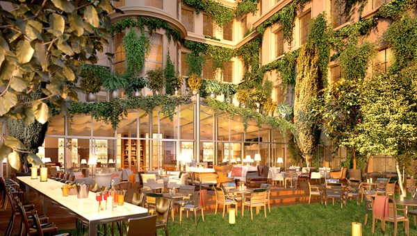 A rendering of the courtyard at the Rosewood Sao Paulo.