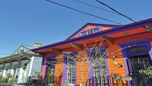 Colorful houses abound in neighborhoods like the Marigny and the Bywater.