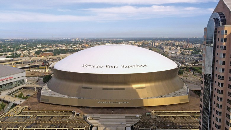 The Superdome as seen from the Hyatt Regency New Orleans.