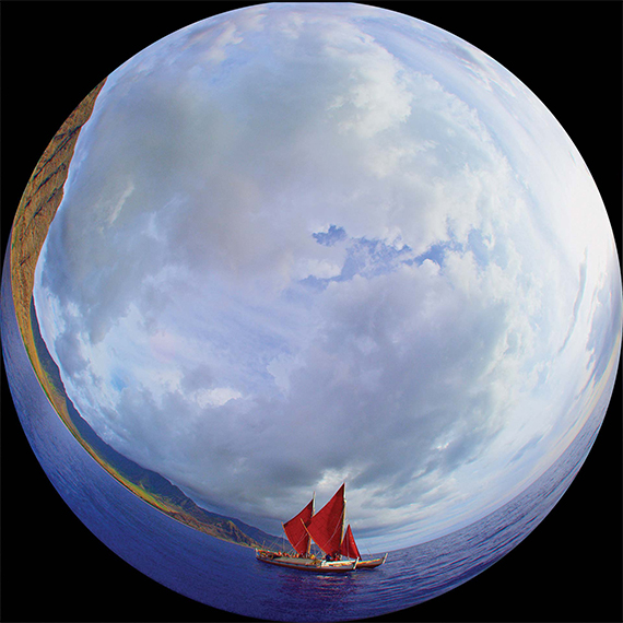 "A fisheye-lens view of the Hokulea, a replica of an ancient voyaging canoe, in ""Wayfinders."""