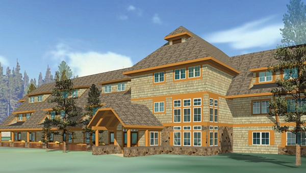 A rendering of Xanterra Parks and Resorts' revamped Canyon Lodge & Cabins in Yellowstone National Park.