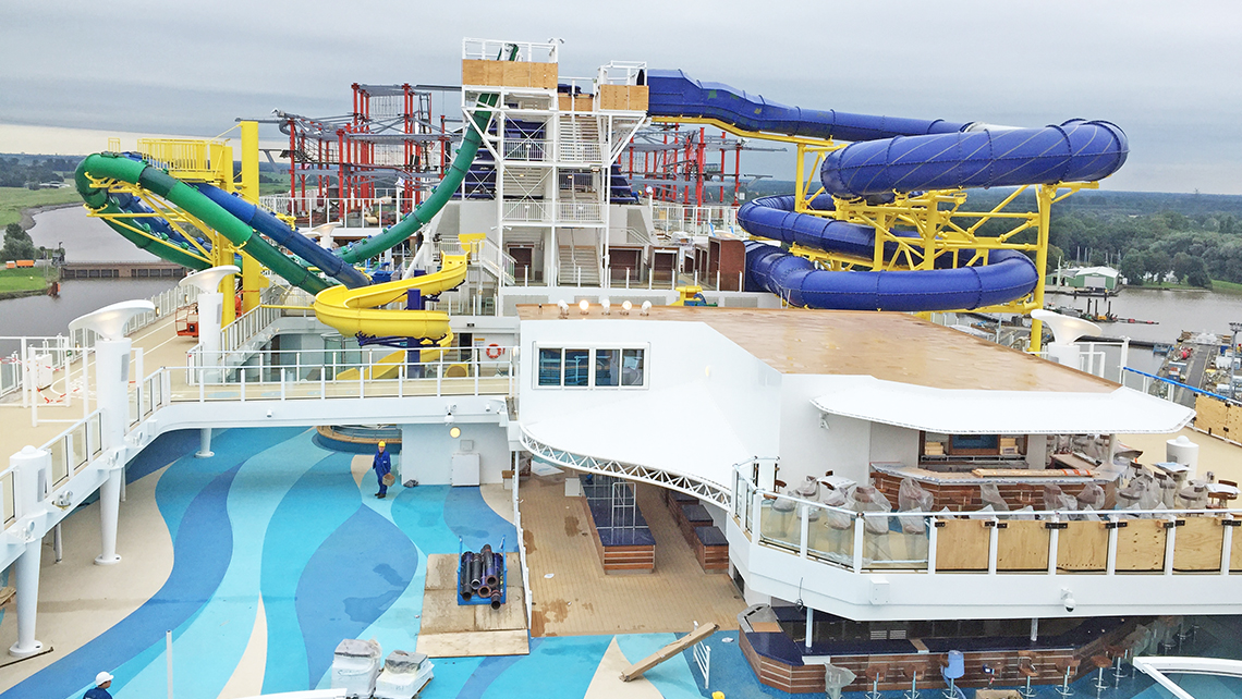 The pool area of Norwegian Escape. Photo Credit: Tom Stieghorst