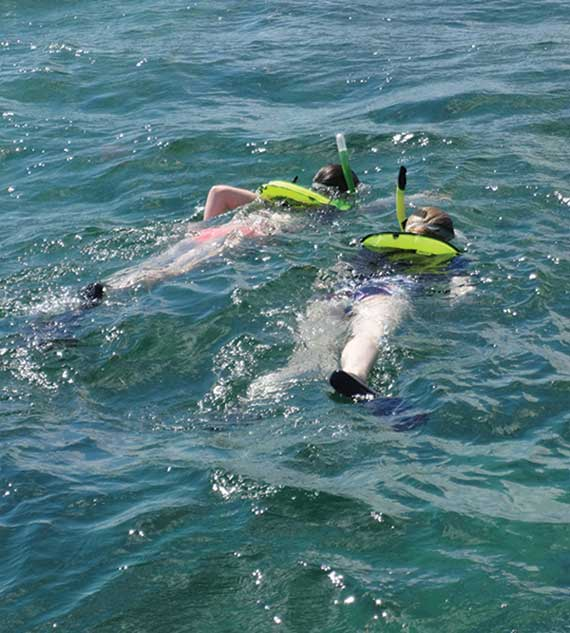Snorkelers swim in the water off Key West.