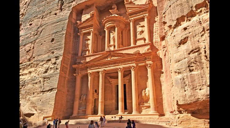 Petra's treasury building, one of the most well-known sites of the ancient city, and for the many the primary reason for visiting the country.